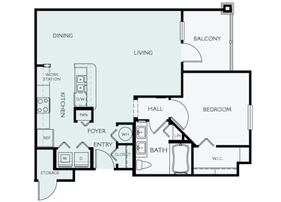 Delano at Cypress Creek - A3 (Alexandria) - 1 bedroom and 1 bath