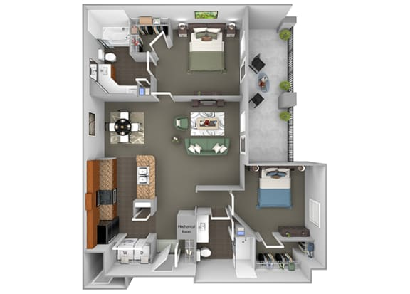 Delano at Cypress Creek - B2 (Carlyle) - 2 bedrooms and 2 bath - 3D Floor Plan