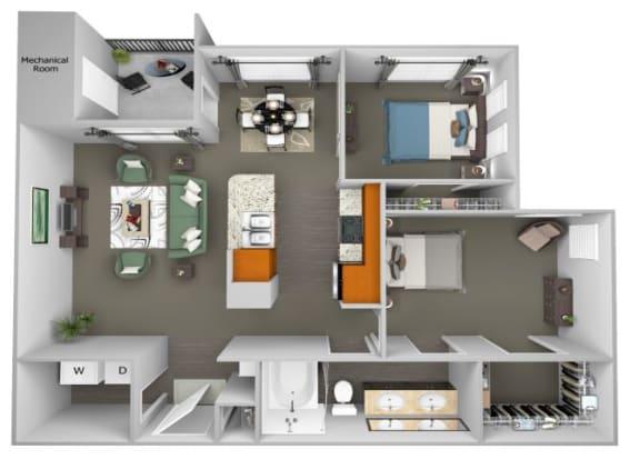 Acadia at Cornerstar - B1 (Aquila) - 2 bedroom and 1 bath - 3D