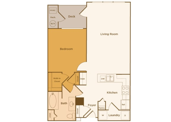 Avenel at Montgomery Square floor plans - The Montgomery - A1 - 1Bed 1Bath - 2D