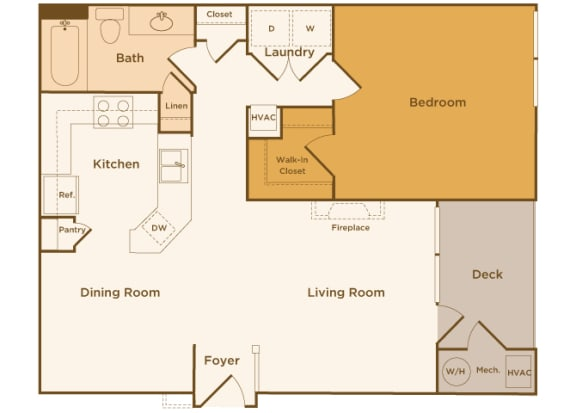 Avenel at Montgomery Square floor plans - The Wales - A2 - 1Bed 1Bath - 2D