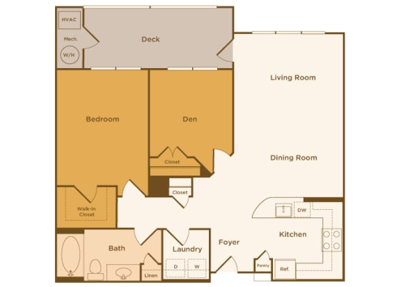 Avenel at Montgomery Square floor plans - The Chestnut - A3 - 1Bed 1Bath - 2D