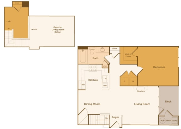 Avenel at Montgomery Square floor plans - The Wales with a loft - A4 - 1Bed 1Bath - 2D