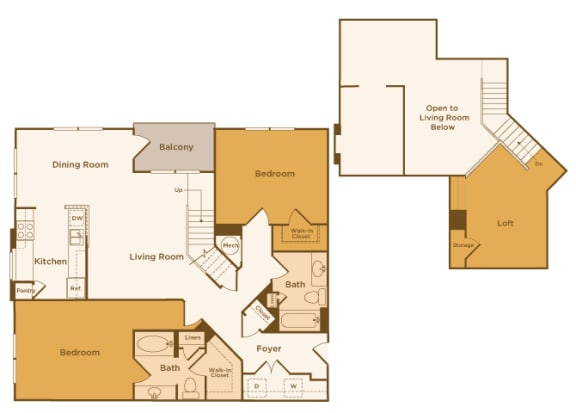 Avenel at Montgomery Square floor plans - The Gwynned 2 Loft - B10 - 2 Bed 2 Bath - 2D