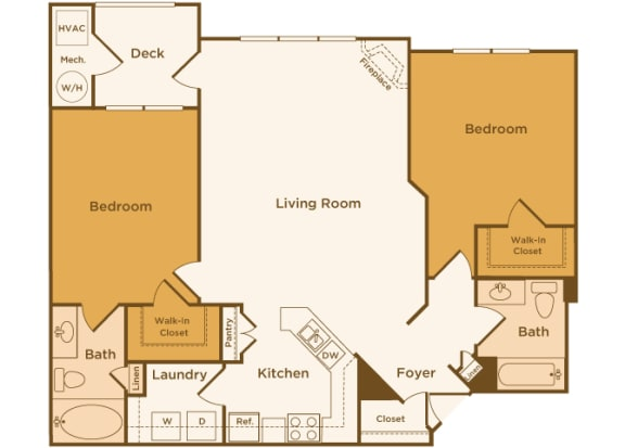Avenel at Montgomery Square floor plans - The Dublin - B1 - 2 Bed 2 Bath - 2D