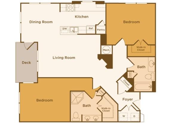 Avenel at Montgomery Square floor plans - The Gwynedd 1 - B2 - 2 Bed 2 Bath - 2D