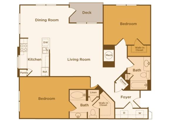Avenel at Montgomery Square floor plans - The Gwynedd 2 - B3 - 2 Bed 2 Bath - 2D