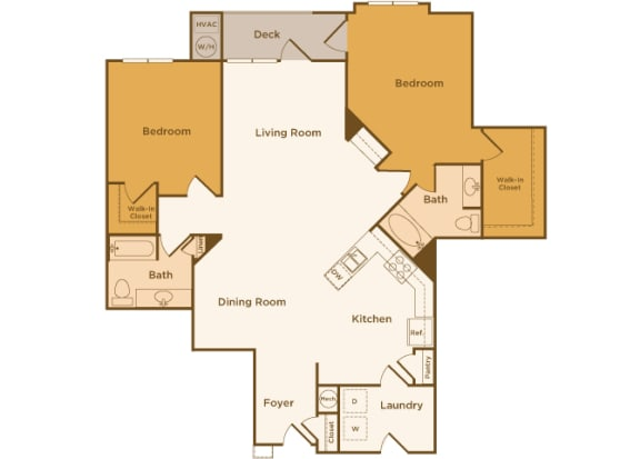 Avenel at Montgomery Square floor plans - The Warwick - B5 - 2 Bed 2 Bath - 2D