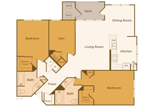 Avenel at Montgomery Square floor plans - The Penllyn - B6 - 2 Bed 2 Bath - 2D
