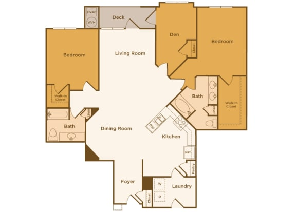 Avenel at Montgomery Square floor plans - The Warwick - B7 - 2 Bed 2 Bath - 2D