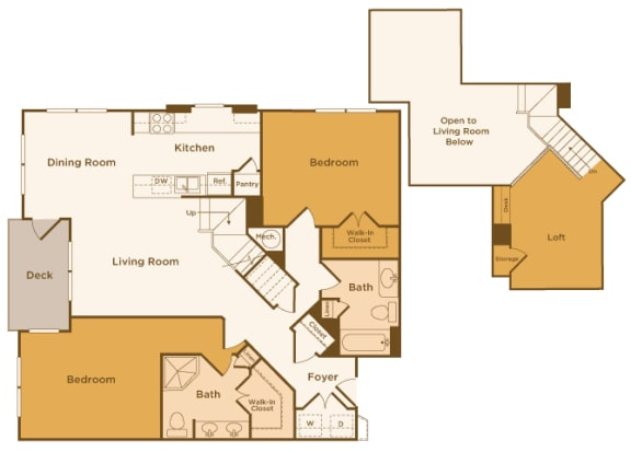 Avenel at Montgomery Square floor plans - The Gwynned 1 Loft - B8 - 2 Bed 2 Bath - 2D