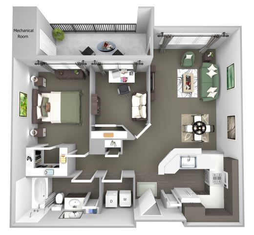 Avenel at Montgomery Square floor plans - The Chestnut - A3 - 1Bed 1Bath - 3D