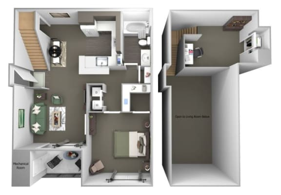 Avenel at Montgomery Square floor plans - The Wales with a loft - A4 - 1Bed 1Bath - 3D