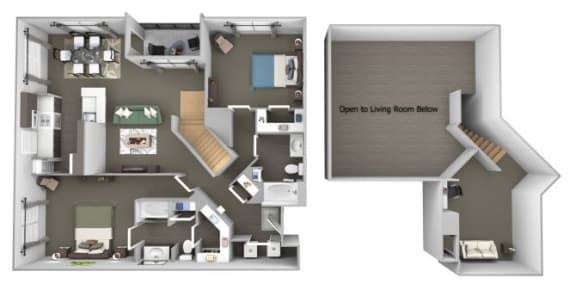 Avenel at Montgomery Square floor plans - The Gwynned 2 Loft - B10 - 2 Bed 2 Bath - 3D