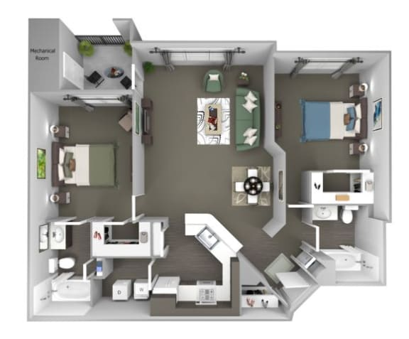 Avenel at Montgomery Square floor plans - The Dublin - B1 - 2 Bed 2 Bath - 3D