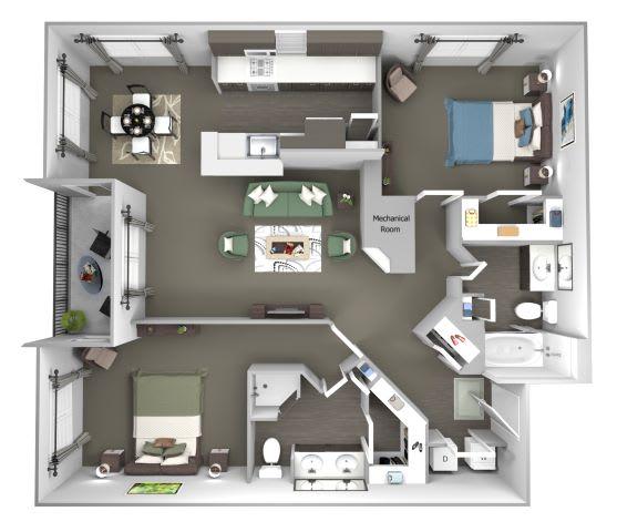 Avenel at Montgomery Square floor plans - The Gwynedd 1 - B2 - 2 Bed 2 Bath - 3D