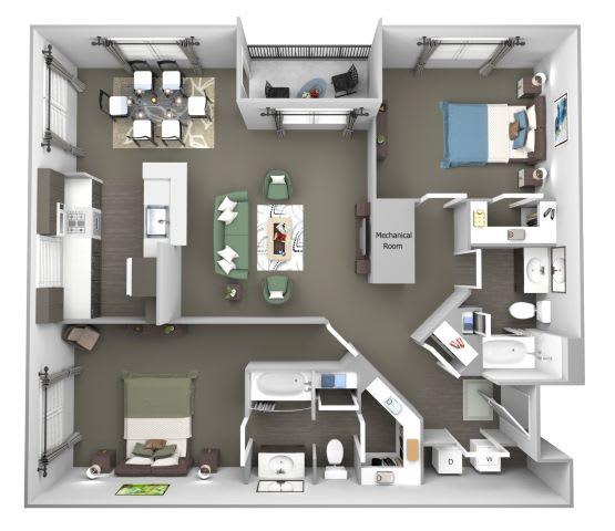 Avenel at Montgomery Square floor plans - The Gwynedd 2 - B3 - 2 Bed 2 Bath - 3D