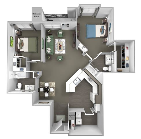Avenel at Montgomery Square floor plans - The Warwick - B5 - 2 Bed 2 Bath - 3D