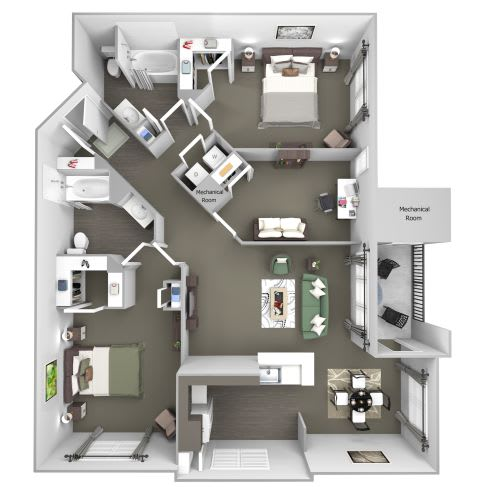 Avenel at Montgomery Square floor plans - The Penllyn - B6 - 2 Bed 2 Bath - 3D