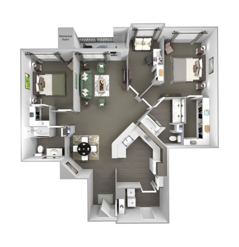 Avenel at Montgomery Square floor plans - The Warwick 2 with den - B7 - 2 Bed 2 Bath - 3D