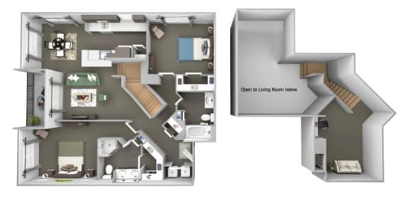 Avenel at Montgomery Square floor plans - The Gwynned 1 Loft - B8 - 2 Bed 2 Bath - 3D