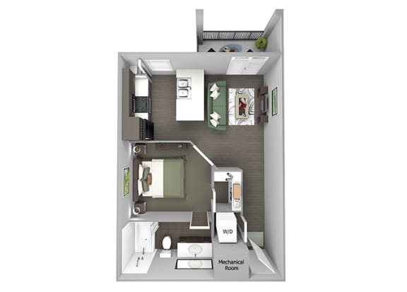 23Hundred at Berry Hill - A1 - 1 bedroom and 1 bath - 3D