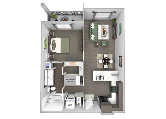 23Hundred at Berry Hill - A4 - 1 bedroom and 1 bath - 3D