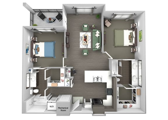 23Hundred at Berry Hill - B3 - 2 bedroom and 2 bath - 3D