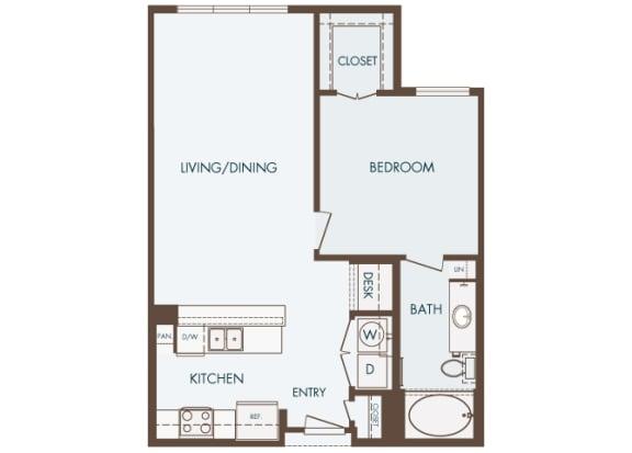 Cityplace Heights Apartments floor plan - A1 - 1Bedroom 1Bathroom - 2D