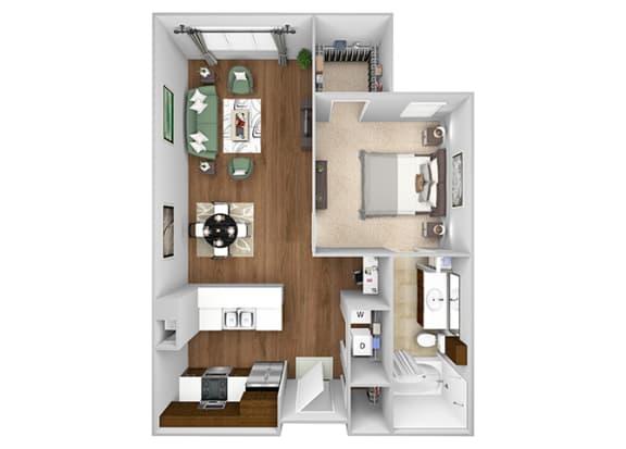 Cityplace Heights Apartments floor plan - A1 - 1Bedroom 1Bathroom - 3D
