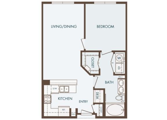 Cityplace Heights Apartments floor plan - A2 - 1Bedroom 1Bathroom - 2D