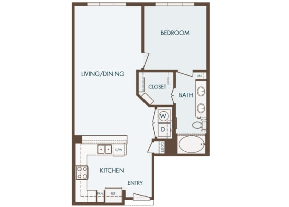 Cityplace Heights Apartments floor plan - A3 - 1Bedroom 1Bathroom - 2D