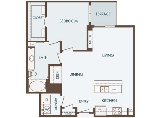 Cityplace Heights Apartments floor plan - A5 - 1Bedroom 1Bathroom - 2D
