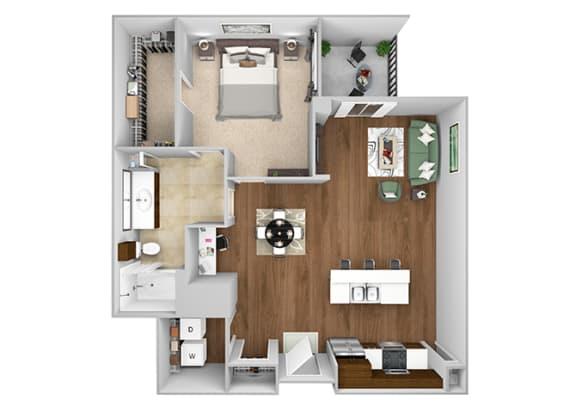 Cityplace Heights Apartments floor plan - A5 - 1Bedroom 1Bathroom - 3D