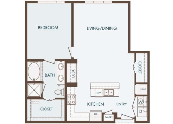 Cityplace Heights Apartments floor plan - A6 - 1Bedroom 1Bathroom - 2D