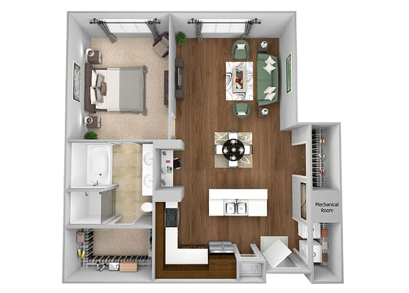 Cityplace Heights Apartments floor plan - A6 - 1Bedroom 1Bathroom - 3D