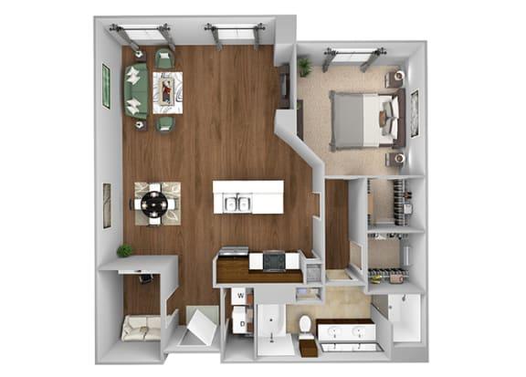 Cityplace Heights Apartments floor plan - A7 - 1Bedroom 1Bathroom - 3D