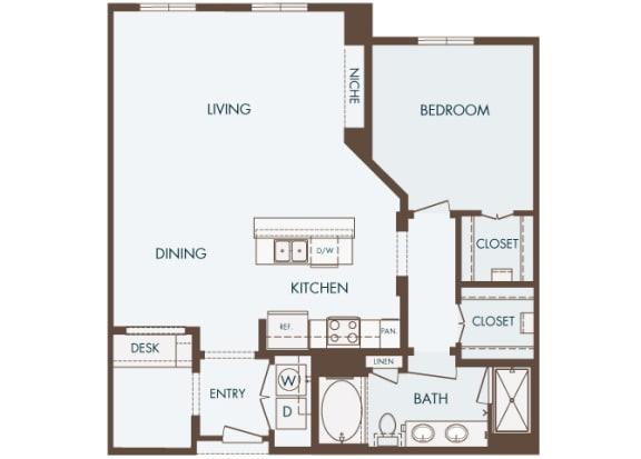 Cityplace Heights Apartments floor plan - A7 - 1Bedroom 1Bathroom - 2D