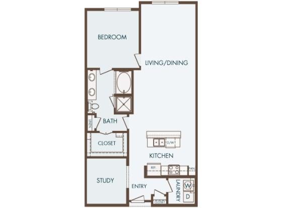 Cityplace Heights Apartments floor plan - A8 - 1Bedroom 1Bathroom - 2D