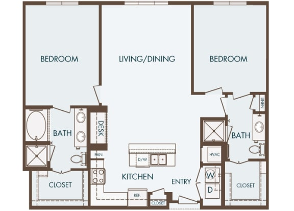 Cityplace Heights Apartments floor plan - B2 - 2Bedroom 2Bathroom - 2D