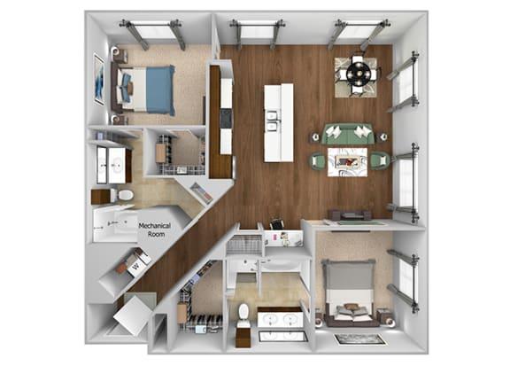 Cityplace Heights Apartments floor plan - B3 - 2Bedroom 2Bathroom - 3D