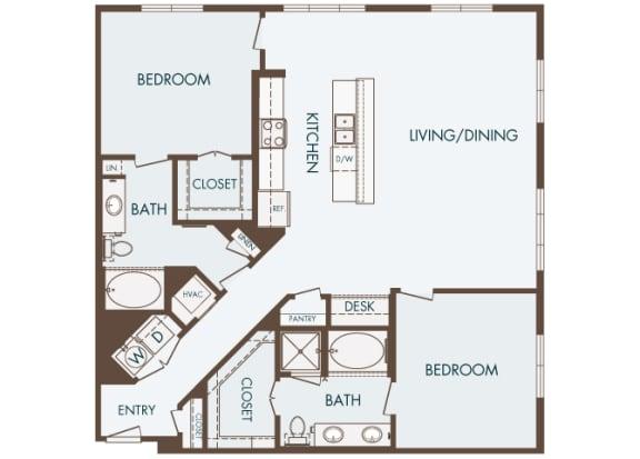 Cityplace Heights Apartments floor plan - B3 - 2Bedroom 2Bathroom - 2D
