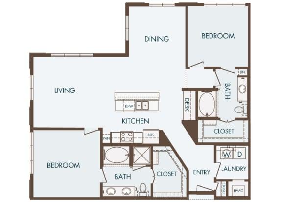 Cityplace Heights Apartments floor plan - B4 - 2Bedroom 2Bathroom - 2D