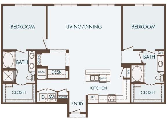 Cityplace Heights Apartments floor plan - B5 - 2Bedroom 2Bathroom - 2D