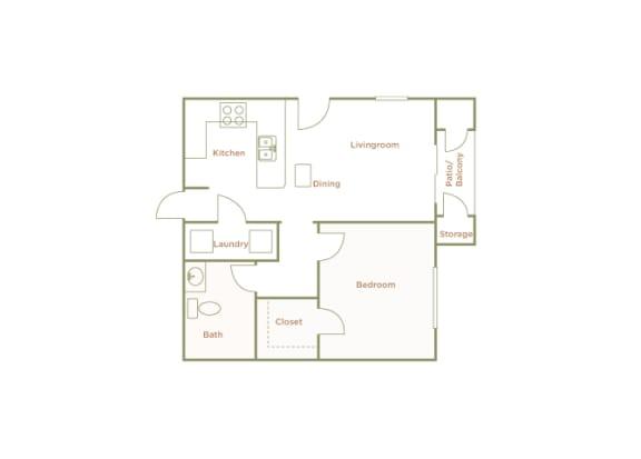 Hills of Valencia Apartments - A1L - 1 bedroom and 1 bath - 2D