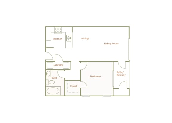 Hills of Valencia Apartments - A2 - 1 bedroom and 1 bath - 2D