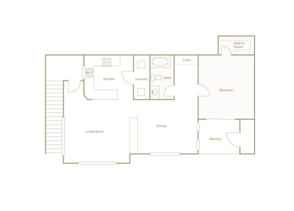 Hills of Valencia Apartments - A4 - 1 bedroom and 1 bath - 2D