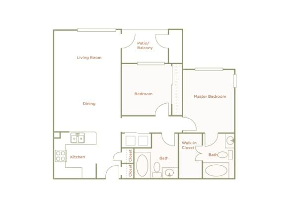 Hills of Valencia Apartments - B1 - 2 bedrooms and 2 bath - 2D