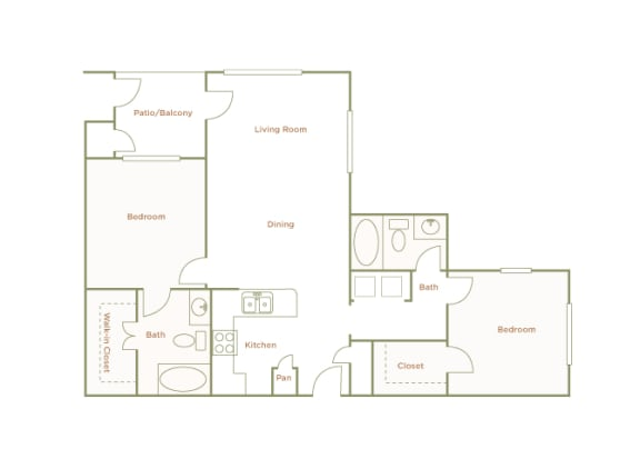 Hills of Valencia Apartments - B2 - 2 bedrooms and 2 bath - 2D