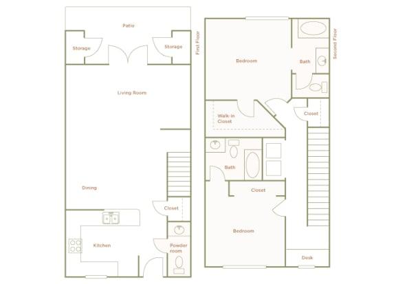 Hills of Valencia Apartments - B3L Townhouse - 2 bedrooms and 2 bath - 2D